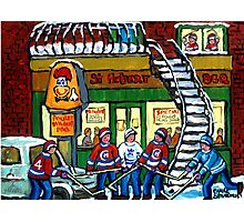 POULET ST.HUBERT BBQ RESTAURANT MONTREAL WITH STREET HOCKEY CANADIAN ART Photographic Print