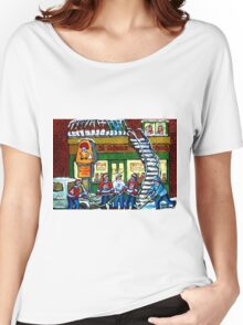 POULET ST.HUBERT BBQ RESTAURANT MONTREAL WITH STREET HOCKEY CANADIAN ART Women's Relaxed Fit T-Shirt