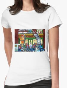 POULET ST.HUBERT BBQ RESTAURANT MONTREAL WITH STREET HOCKEY CANADIAN ART Womens Fitted T-Shirt