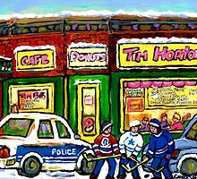 HOCKEY GAME AT TIM HORTON'S MONTREAL WINTER CITY SCENE by Carole  Spandau