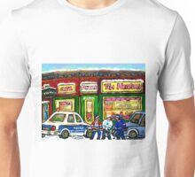 HOCKEY GAME AT TIM HORTON'S MONTREAL WINTER CITY SCENE Unisex T-Shirt