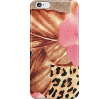 Cool brown pink black floral animal print iPhone Case/Skin
