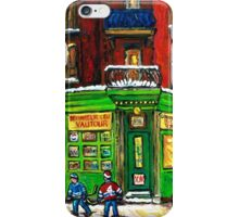 MONTREAL DEPANNEUR AT NIGHT WITH HOCKEY CANADIAN ART iPhone Case/Skin