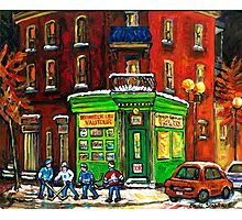 MONTREAL DEPANNEUR AT NIGHT WITH HOCKEY CANADIAN ART Photographic Print