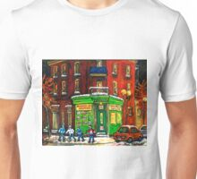 MONTREAL DEPANNEUR AT NIGHT WITH HOCKEY CANADIAN ART Unisex T-Shirt
