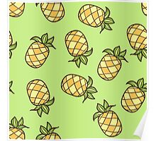 Summertime Pineapple Fruits Square Poster
