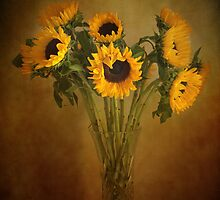 Sun Flowers in a Vase . by Irene  Burdell