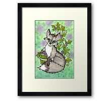 Fox and Grapes - Mixed Media Framed Print