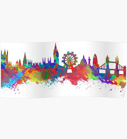 Watercolor art print of the skyline of London Poster
