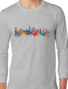 Watercolor art print of the skyline of London Long Sleeve T-Shirt