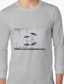 Black necked Stilts with reflection(My reflection is better than yours!) Long Sleeve T-Shirt