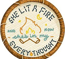 Lord Huron She Lit a Fire Embroidery Style Patch by Jesse Knight
