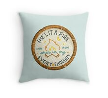 Lord Huron She Lit a Fire Embroidery Style Patch Throw Pillow