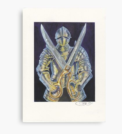 Knight and Scissors Canvas Print