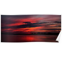 Sunset Panoramic reflection over Norfolk Broads Poster