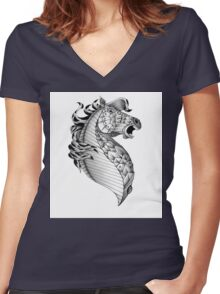 Ornate Horse Women's Fitted V-Neck T-Shirt