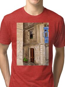 Original digital painting artwork of old european city Tri-blend T-Shirt