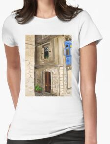 Original digital painting artwork of old european city Womens Fitted T-Shirt