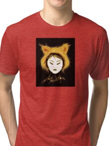 Cat Tee -Not your Kitty - Goth Black and Gold Tri-blend T-Shirt