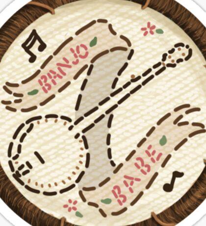 Banjo Babe Folk Music Embroidery Style Patch Sticker
