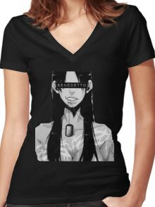Benedetto Gangsta Women's Fitted V-Neck T-Shirt