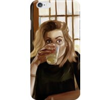 Girl with blond hair and blue eyes drinking lemonade iPhone Case/Skin