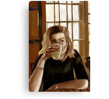 Girl with blond hair and blue eyes drinking lemonade Canvas Print