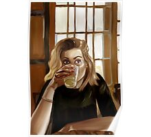 Girl with blond hair and blue eyes drinking lemonade Poster