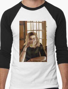 Girl with blond hair and blue eyes drinking lemonade Men's Baseball ¾ T-Shirt