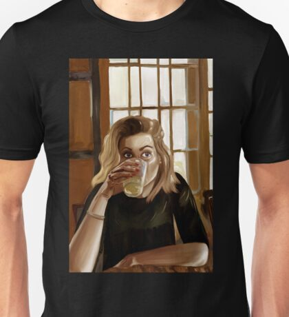Girl with blond hair and blue eyes drinking lemonade Unisex T-Shirt