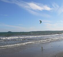 Wind Surfer at Ballinwilling Beach,Co.Cork,Ireland. by Pat Duggan