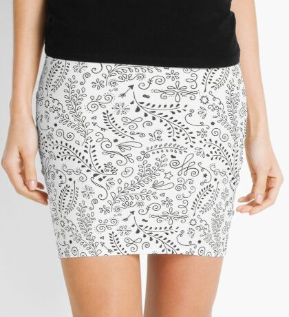 Seamless Black and White Floral Dance Mini Skirt