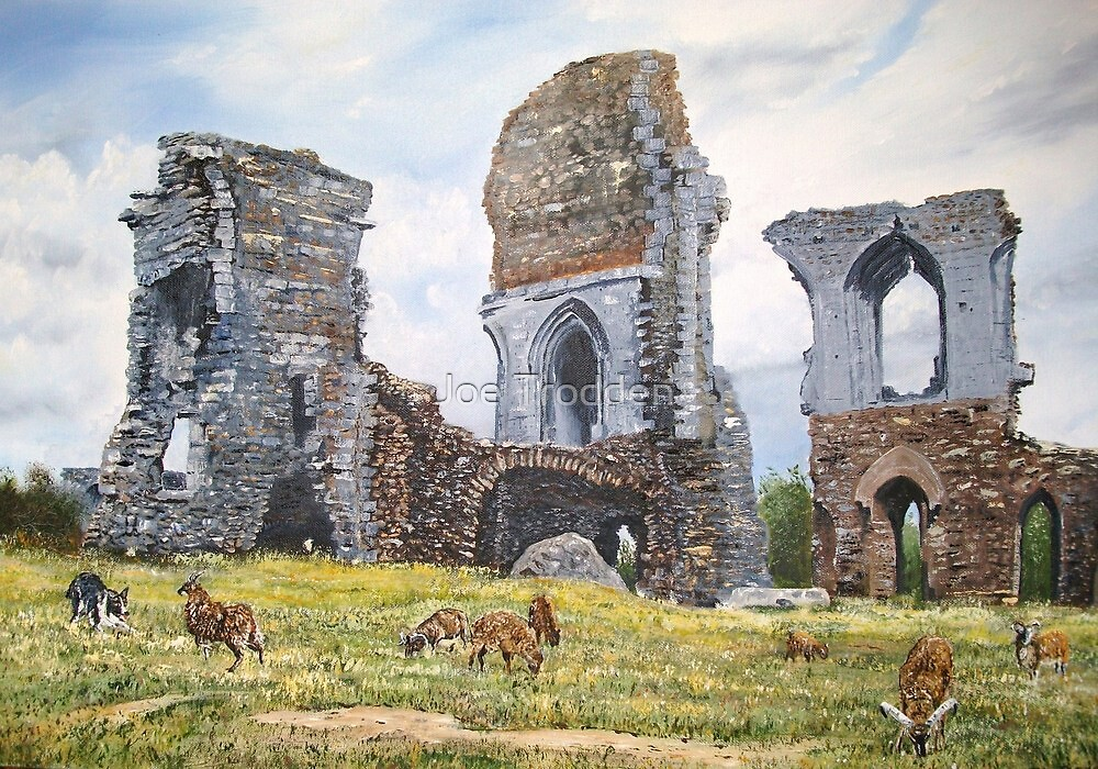 Soay sheep at Corfe Castle. by Joe Trodden