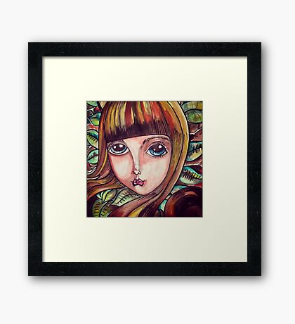 Big eyed forest girl Framed Print