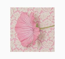 Pink Lavatera Blossom On Vintage Lace - Macro Women's Fitted Scoop T-Shirt
