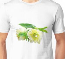 Beautiful spring white peony flowers and green leaves floral photo art. Unisex T-Shirt