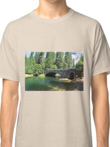Yosemite National Park landscape photography. Beautiful  lush forest trees, green clear water river and stone bridge. Classic T-Shirt
