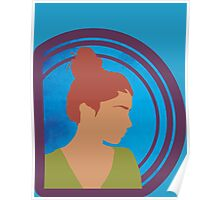 Silhouetted Redhead Girl Poster