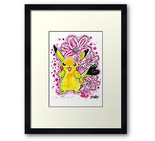 Cute Lily Pikachu - Watercolor Painting - Flowers - T shirts + More Framed Print
