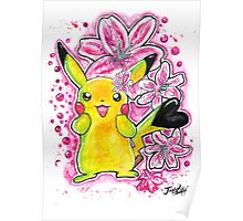 Cute Lily Pikachu - Watercolor Painting - Flowers - T shirts + More Poster