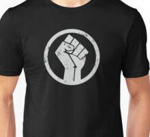 BLACK POWER FIST WHITE ON BLACK BACKGROUND Unisex T-Shirt