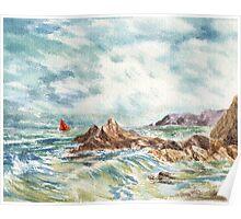 Sailboat At The Seashore Poster