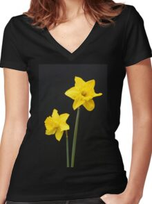 Daffodils in full bloom Women's Fitted V-Neck T-Shirt