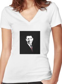 Obama With American Flag Tie  Women's Fitted V-Neck T-Shirt