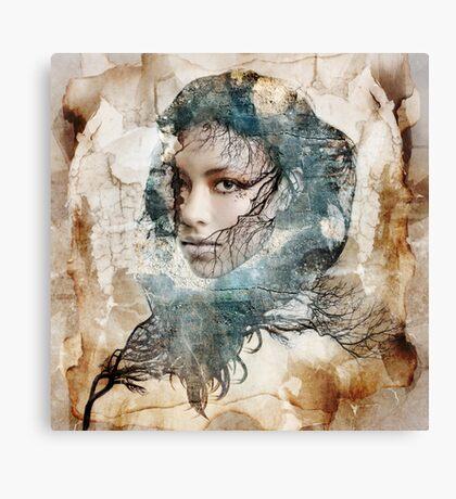 Female portrait framed amongst nature theme Canvas Print