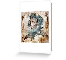 Female portrait framed amongst nature theme Greeting Card