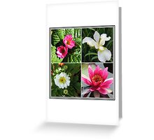 Flower Collage Featuring Deep Pink and White Flowers Greeting Card