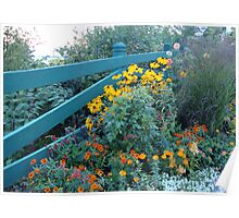 Flowers with Fence Poster