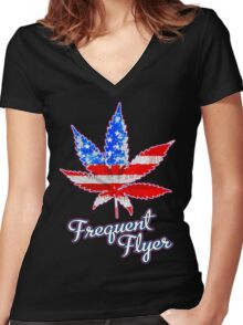 Frequent Flyer! Women's Fitted V-Neck T-Shirt