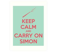 Keep Calm and Carry On Simon—Pink Text Art Print